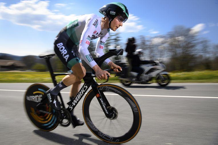 Wilco Kelderman tijdens de proloog van de Ronde van Romandië, waarin hij als eindigde. Beeld EPA
