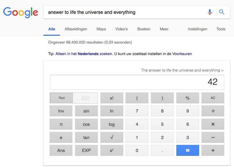 Ook op de vraag naar het leven, het universum en alles heeft Google het antwoord. Beeld RV