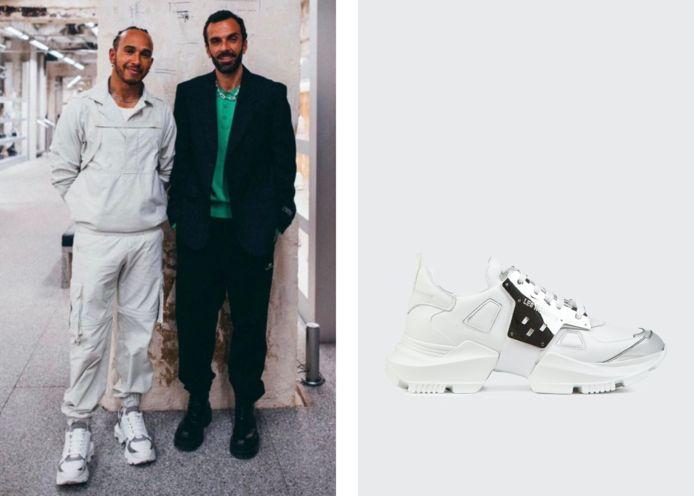 Lewis Hamilton (links) met de Dominator-sneakers (rechts).