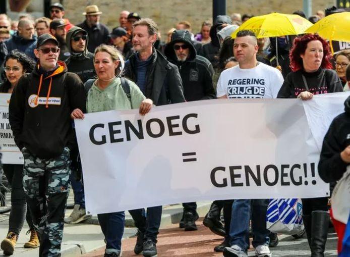 Vijfhonderd mensen demonstreerden in Rotterdam  tegen de coronabeperkingen.