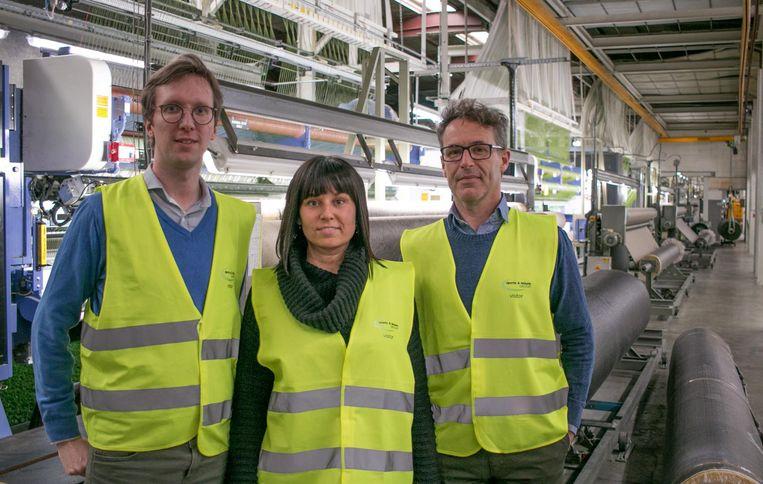 Sebastiaan De Groote van Sport and Leisure, met Evie Bauwens en Yves Quivreux van Konvert Interim.