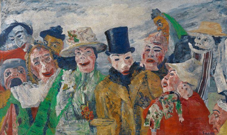Een morbide, carnavaleske scène van Ensor. Beeld rv