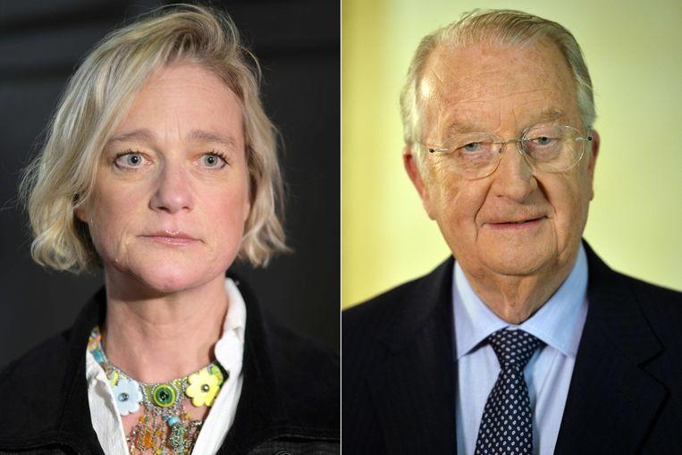 Delphine en Koning Albert, in respectievelijk 2018 en 2013. Beeld AFP
