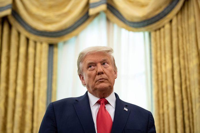 De Amerikaanse president Donald Trump vrijdag tijdens een ceremonie in het Witte Huis.