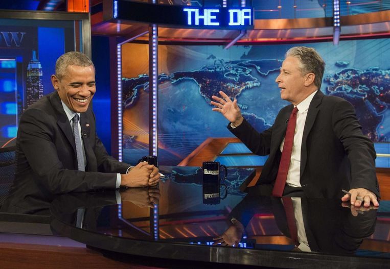Obama in The Daily Show afgelopen juli. Beeld afp