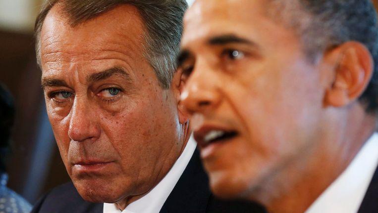 John Boehner (links) en president Obama, vandaag. Beeld REUTERS