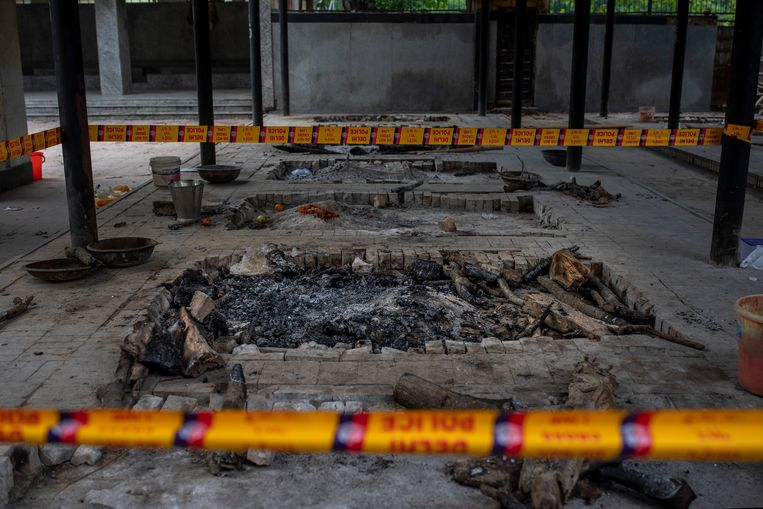 Het crematorium in Delhi waar de feiten zich afspeelde. Beeld AP