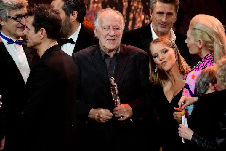 Werner Herzog tijdens de uitreiking van de European Film Awards. Beeld Getty