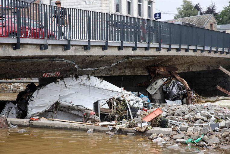 Schade in Theux. Beeld AFP
