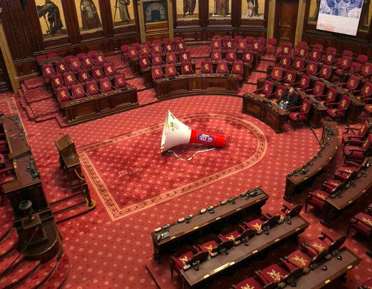 Global Empowerment (2002), een werk van Sven 't Jolle, nu te zien in de Senaat. Beeld RV Kevin Oeyen