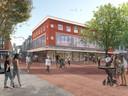Zo moet het vroegere C&A er straks uit komen te zien. Op de bovenverdiepingen worden appartementen gebouwd, beneden komen winkels.