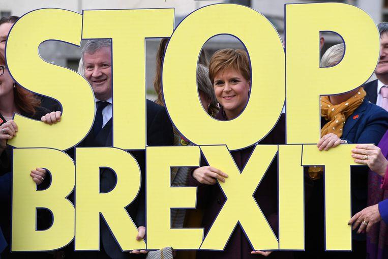 Nicola Sturgeon, premier van Schotland, is tegen de brexit. Beeld AFP