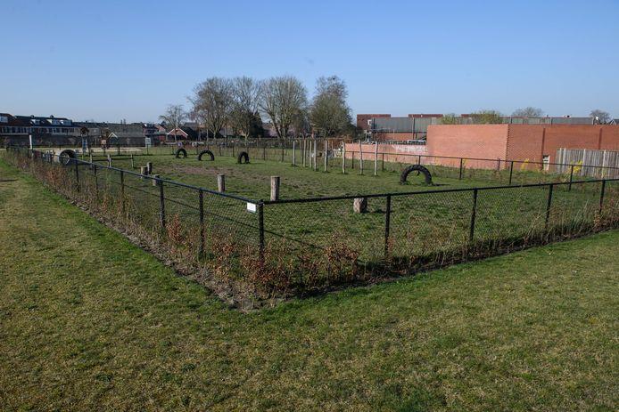 De mogelijk geschikte woonwagenlocatie aan de Dr. Schaepmanstraat in Goor is nu een hondenuitlaatveld en een speelplaats.