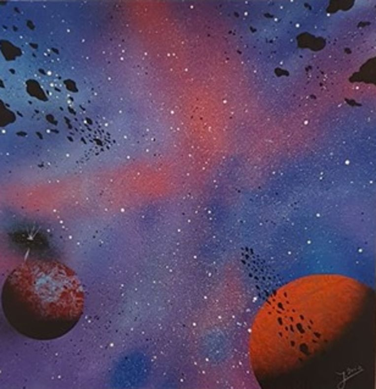 Jeroen beeldt vaak kleurrijke planetenstelsels af.