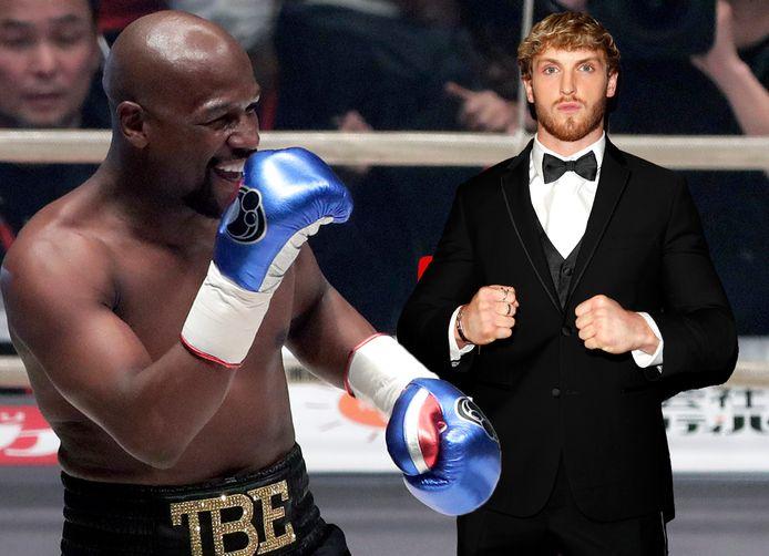 Floyd Mayweather Jr. (links) en Logan Paul.