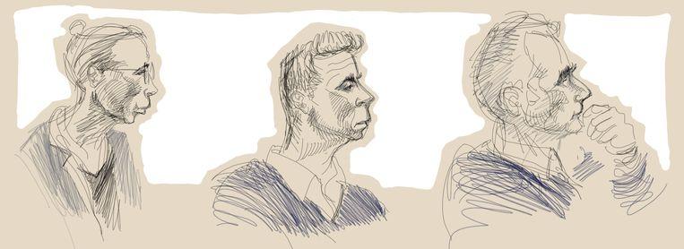 Een tekening van de drie artsen die tijdens het proces terecht staan: psychiater Godelieve Thienpont (links), huisarts Frank D.  en huisarts Jo Van H.  Beeld Belga