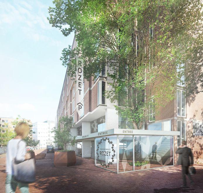 Ontwerp van de nieuwe entree van parkeergarage Rozet in Arnhem.