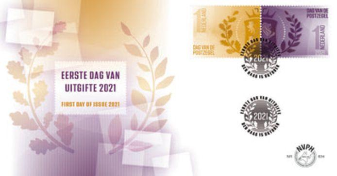 Op de eerstedagenvelop die de NVPH heeft ontworpen, is de vormgeving en kleurstelling van de twee wapenzegels die een facelift hebben gekregen doorgevoerd.