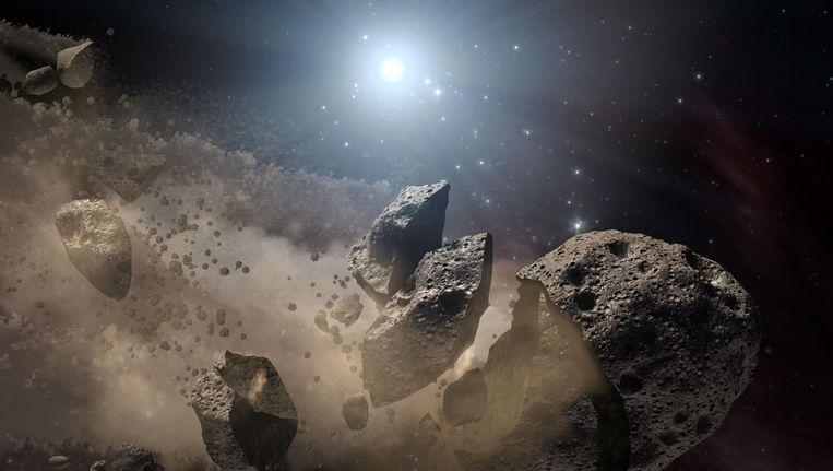Een artist's impression van een gebroken planetoïde. Beeld Reuters