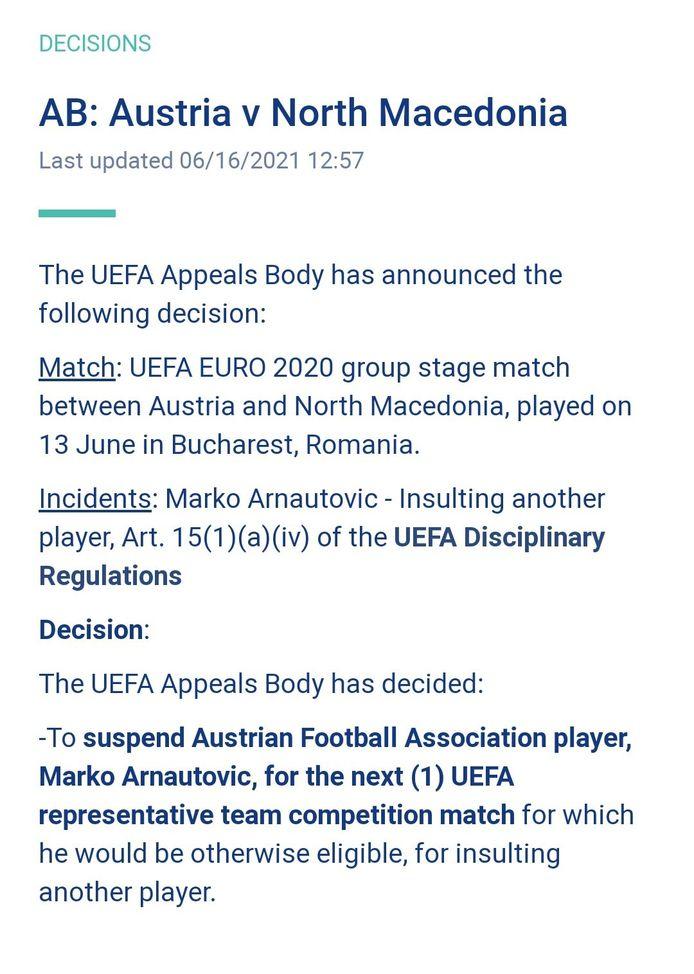 De UEFA schorst Arnautovic voor één duel.