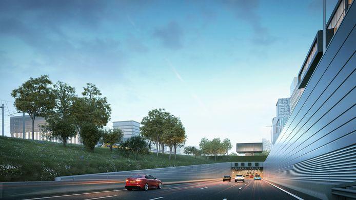 Zo zou het eruit moeten komen te zien: brede tunnels voor de auto's, met op het dak daarvan ruimte voor een tramlus.