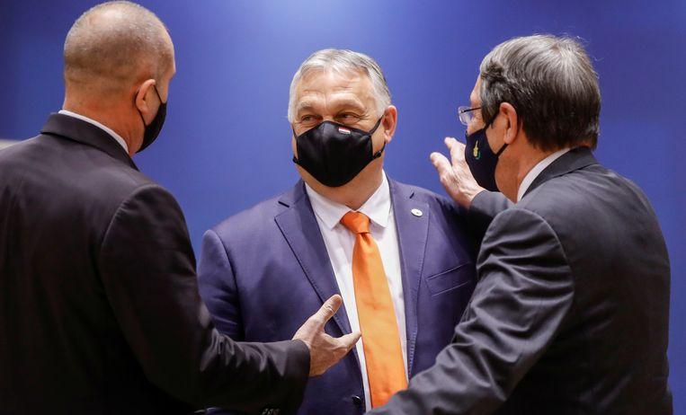 De Hongaarse premier Viktor Orbán op de EU-top in Brussel op 24 juni.  Beeld Reuters