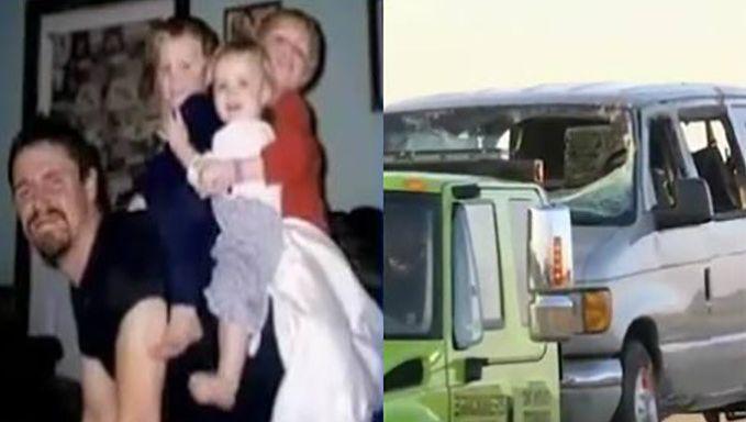 Links de betreurde Michael Rogan en drie van z'n kinderen. Rechts het minibusje dat geraakt werd door een hert.