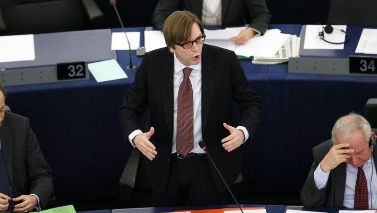 De liberale fractieleider Guy Verhofstadt noemde het EMF 'de beste oplossing als de landen van de eurozone zelf hun zaak op orde brengen'. Foto ANP Beeld
