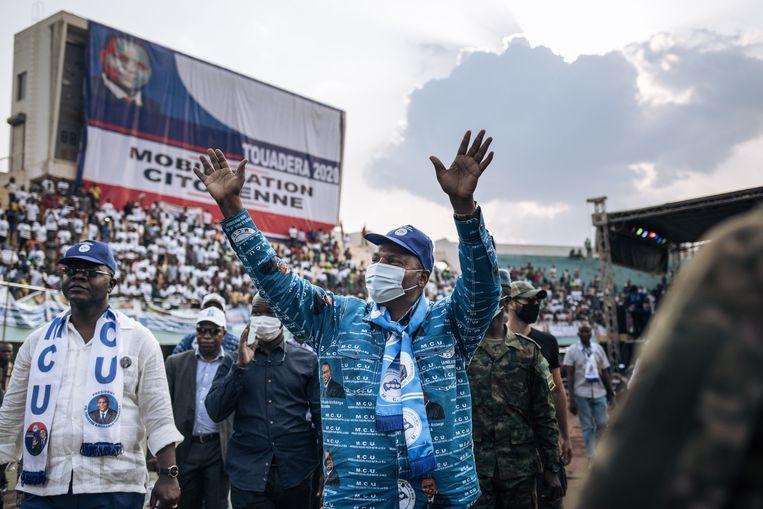 De Russen hielpen hun bondgenoot, president Faustin-Archange Touadéra. Beeld AFP