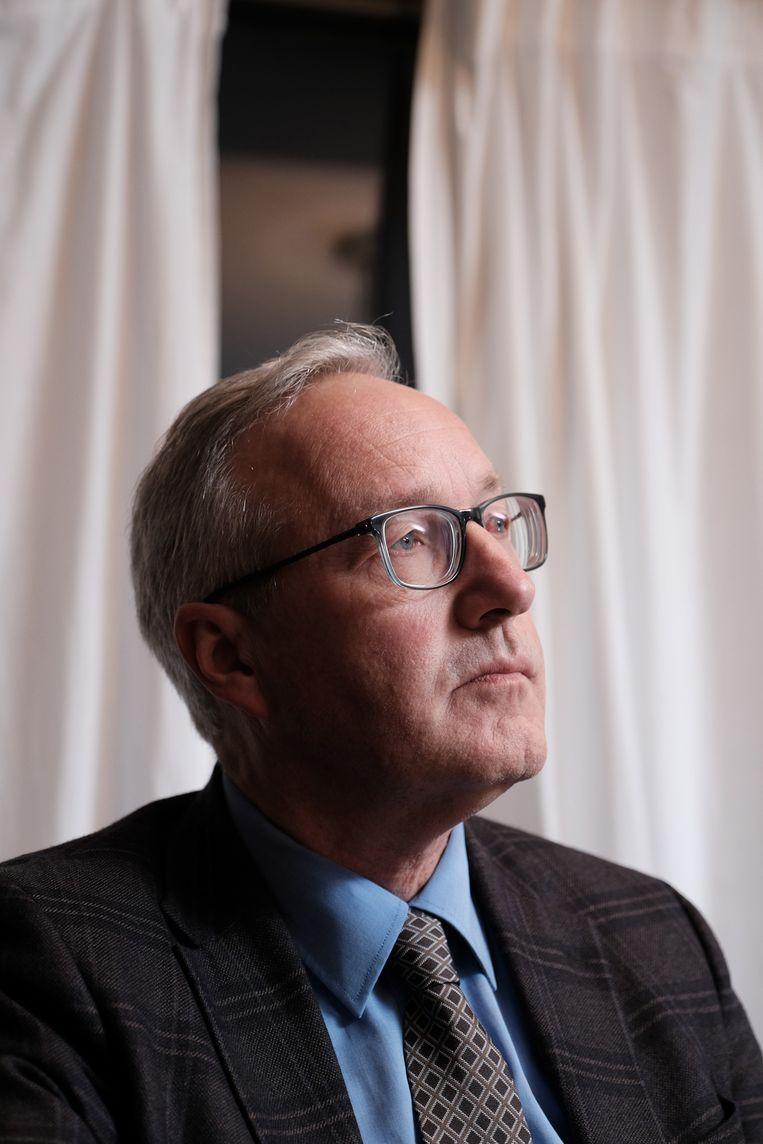 Rudy Coddens vanavond op de persconferentie van sp.a Gent. Beeld Wouter Van Vooren.