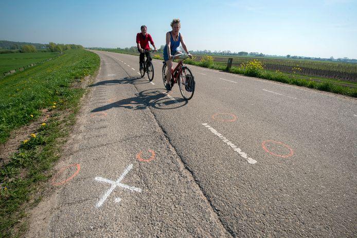 De Randwijkse Rijndijk tussen Randwijk en Opheusden; in het weekeinde  kan het daar erg druk zijn.