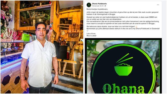 Lal Stanikzai (links) opende Ohana Pokébowls in Brugge, maar daar konden ze in de gelijknamige zaak in Oostende (rechts) niet mee lachen.