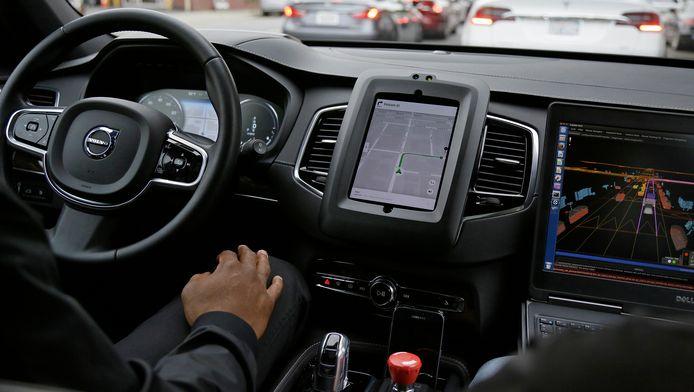 Een testauto van Uber in 2016 in San Francisco.