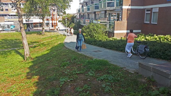 De opgang van Nedersassen, tussen het gemeentehuis en het raadhuis van Alblasserdam is veel gehandicapten te pittig.