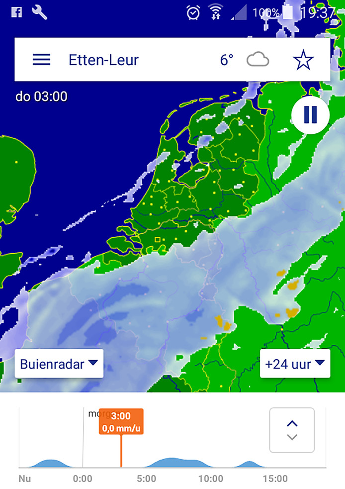 Regen trekt over West-Brabant