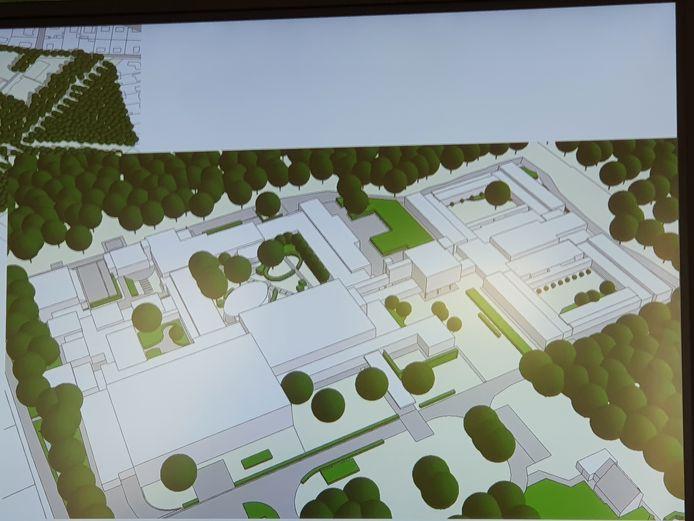 Een schets van het Masterplan voor de renovatie van het Provinciaal Vormingscentrum Malle.