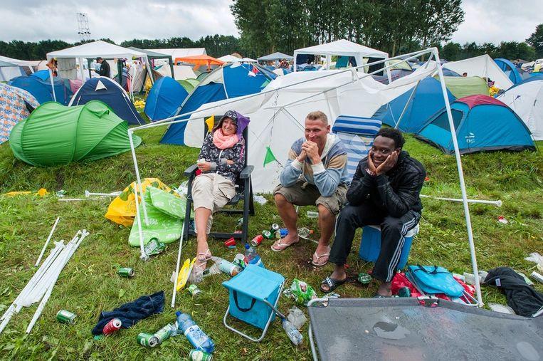 Bezoekers van de Lowlands-camping Beeld ANP