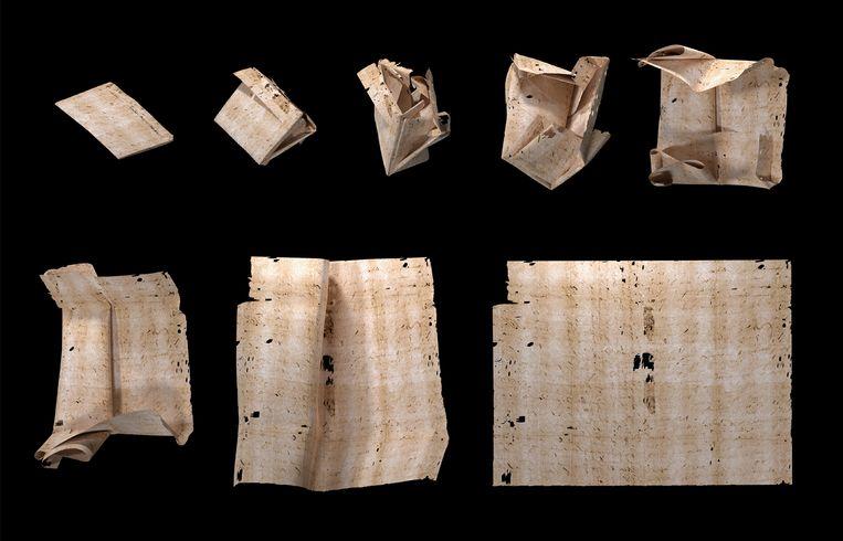 Een driedimensionale CT-scan van een brief wordt digitaal uitgevouwen. De ontvanger kon aan de vouwtechniek afleiden of iemand de brief had onderschept en stiekem gelezen. Beeld MIT