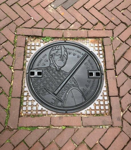 Putdeksel herinnert aan de Slag bij Vlaardingen
