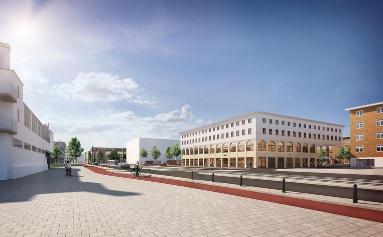 Impressie van het Stadionplein met rechts City ID Beeld IQN Architecten