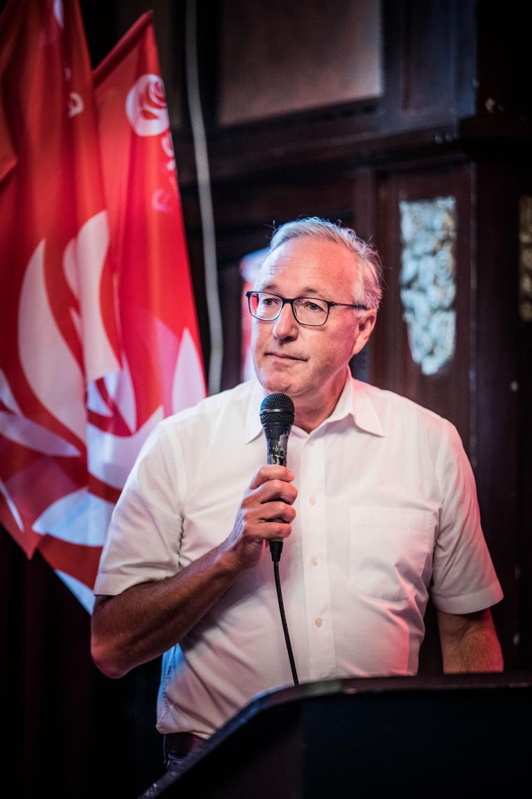 Lijsttrekker Rudy Coddens speecht op de sp.a-ledendag.