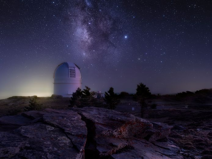 Night View Of Space Observatory Of Calar Alto. Almería. Andalusia. South of Spain.