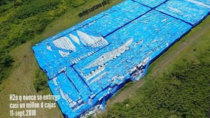 Miljoenen flessen water staan één jaar na orkaan Maria nog steeds onaangeroerd op tarmac, ondanks schrijnend watertekort