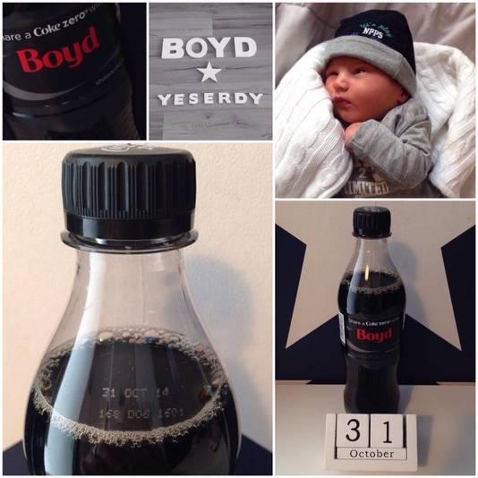 Ook de colafles van Boyd had het goed: het jongetje werd op 31 oktober 2014 geboren