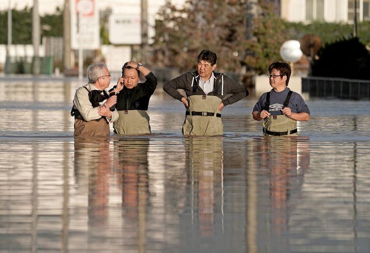 Reddingswerkers in Nagano. Beeld null