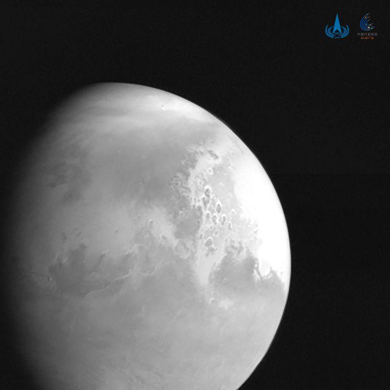 Een beeld van Mars, gemaakt door de Chinese sonde Tianwen-1. Beeld AP