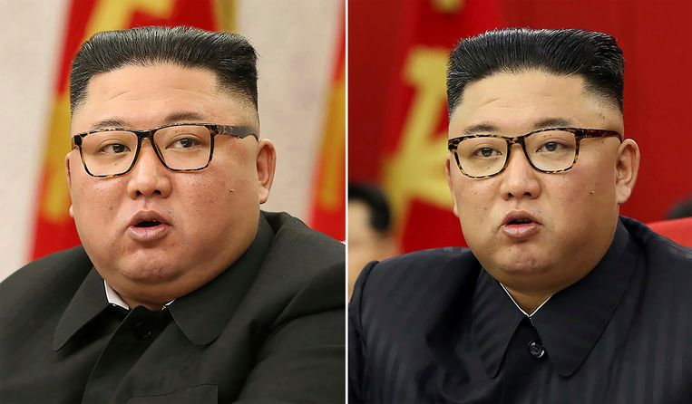 Een vergelijking van een foto op 8 februari (links) en op 15 juni (rechts) toont dat Kim Jong-un is vermagerd in zijn gezicht. Beeld AP