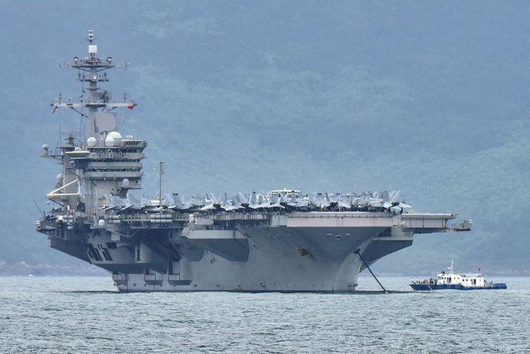 Het Amerikaanse vliegdekschip USS Theodore Roosevelt. Beeld Reuters