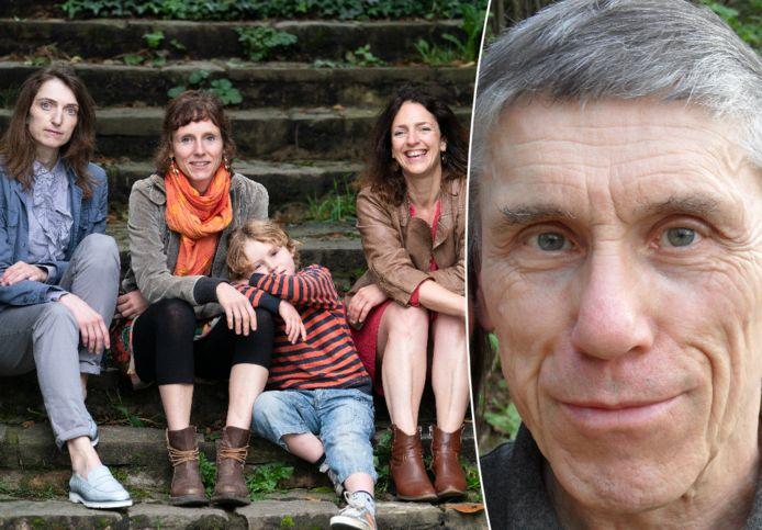 De drie dochters en kleinzoon van de betreurde Werner Marquet: Anne, Solange, de kleine Estéban en Françoise Stella.