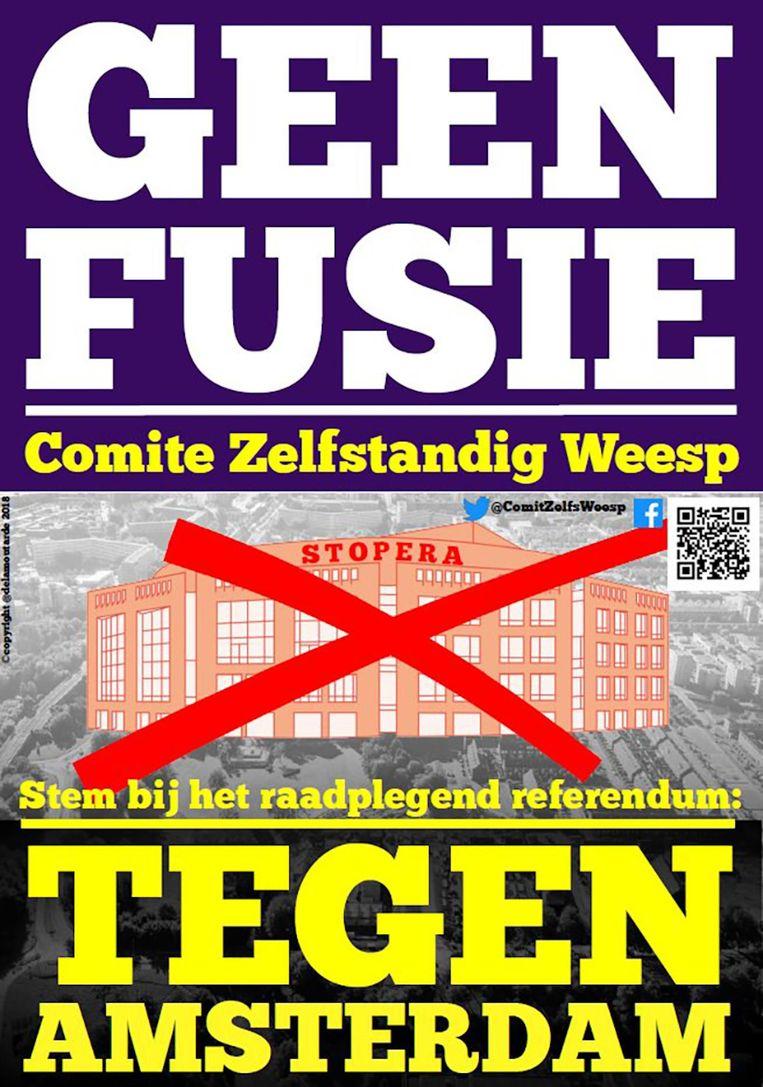 Poster van tegenstanders van een fusie met de gemeente Amsterdam. Beeld .